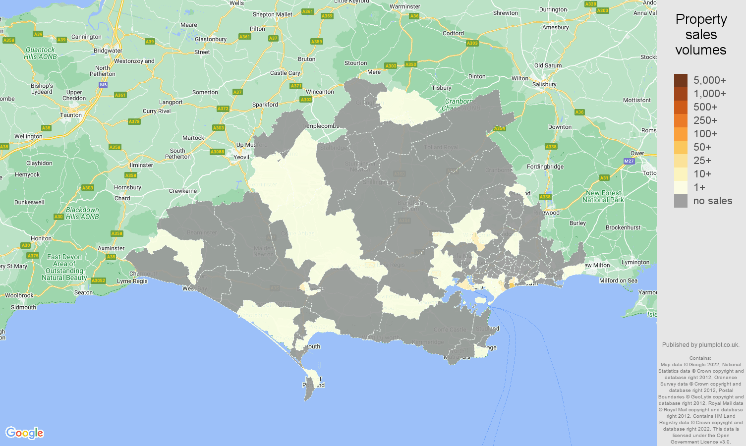 Dorset map of sales of new properties