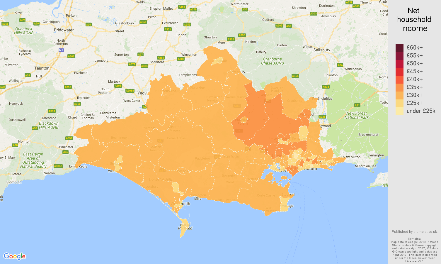 Dorset net household income map