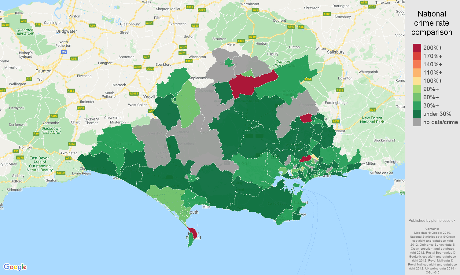 Dorset other crime rate comparison map