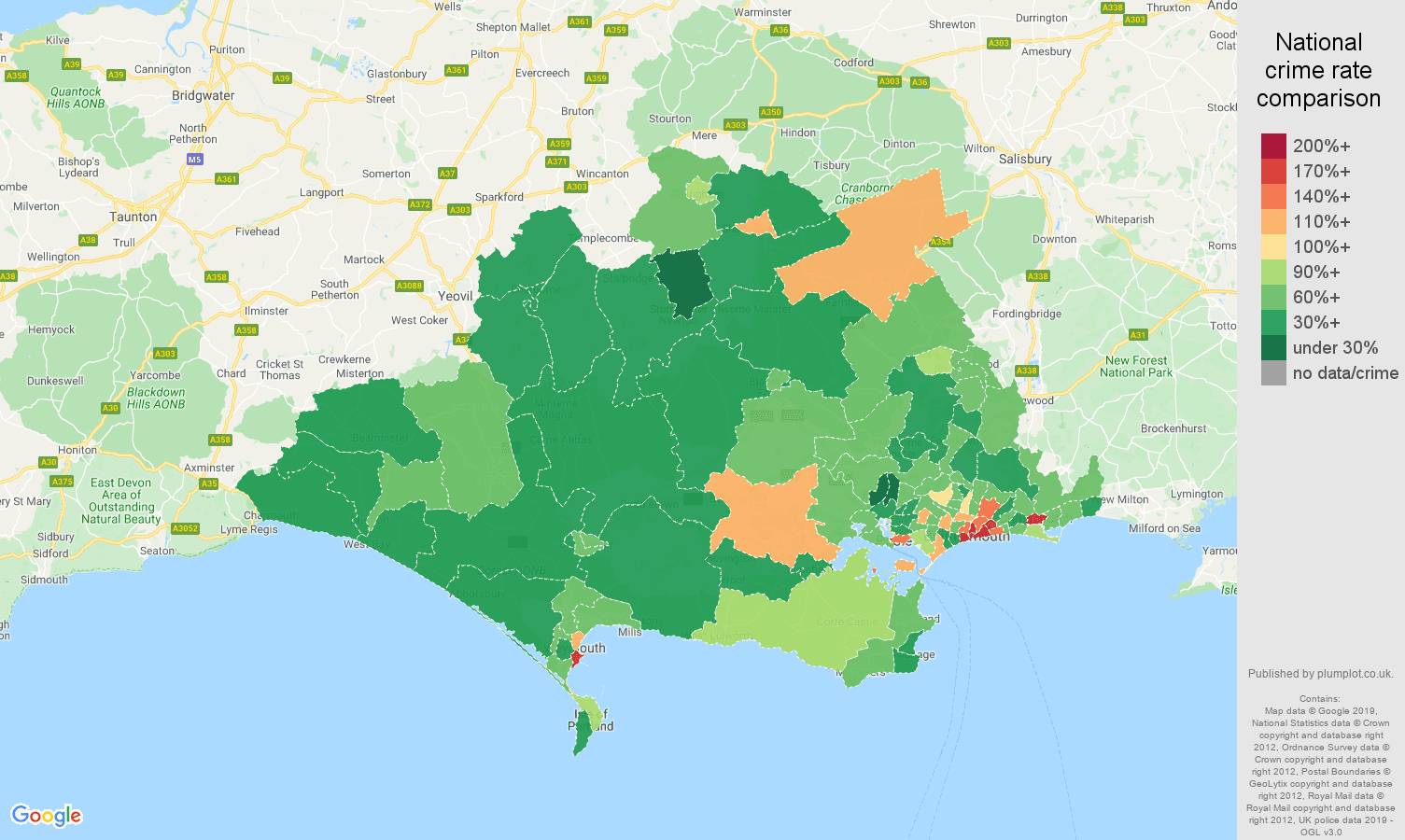 Dorset other theft crime rate comparison map