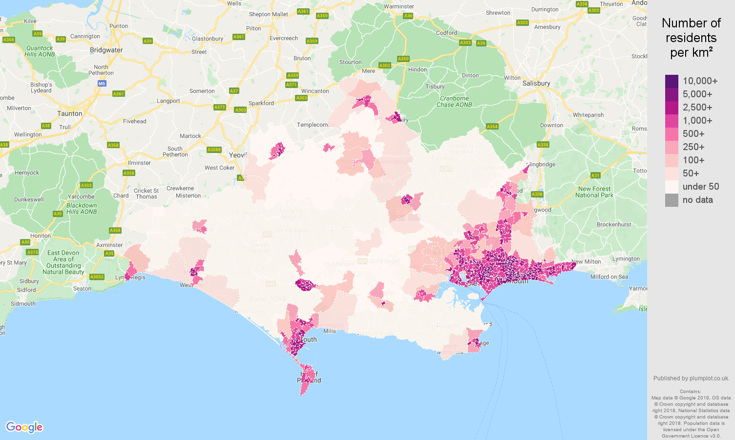 Dorset population density map