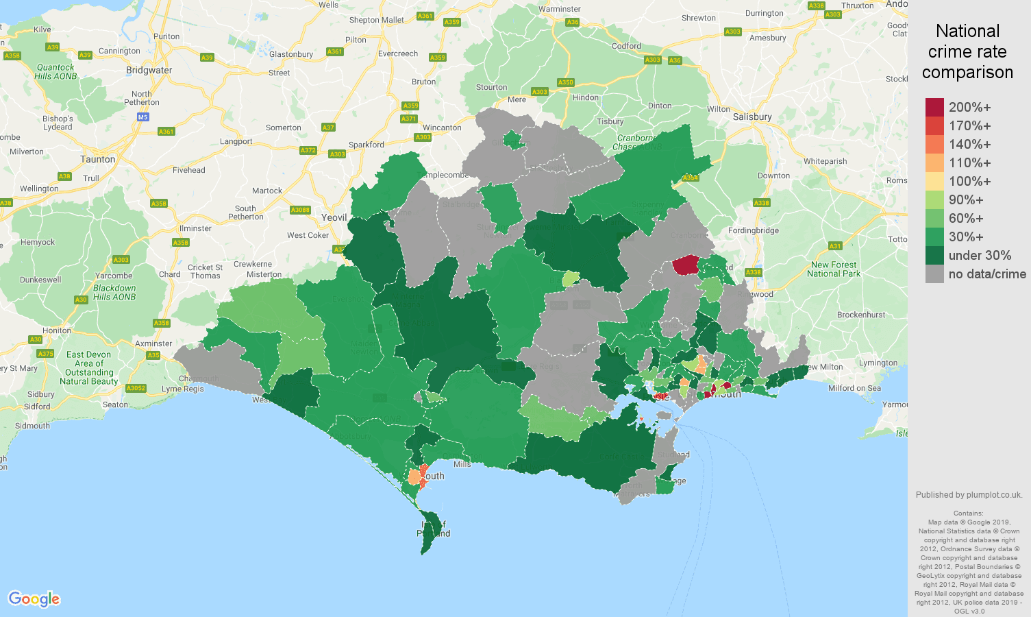 Dorset possession of weapons crime rate comparison map