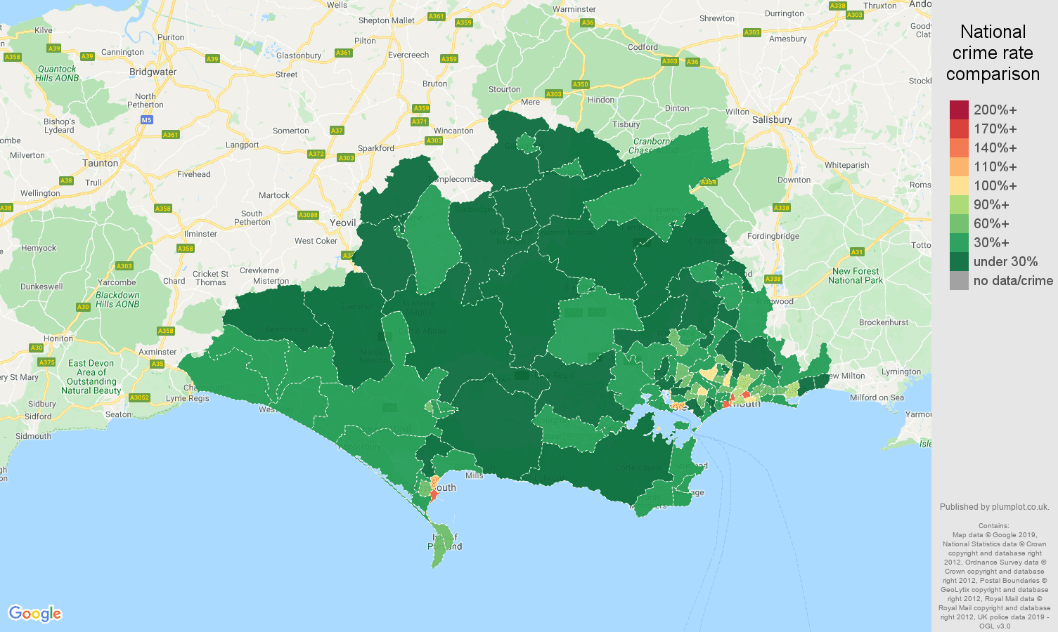 Dorset public order crime rate comparison map
