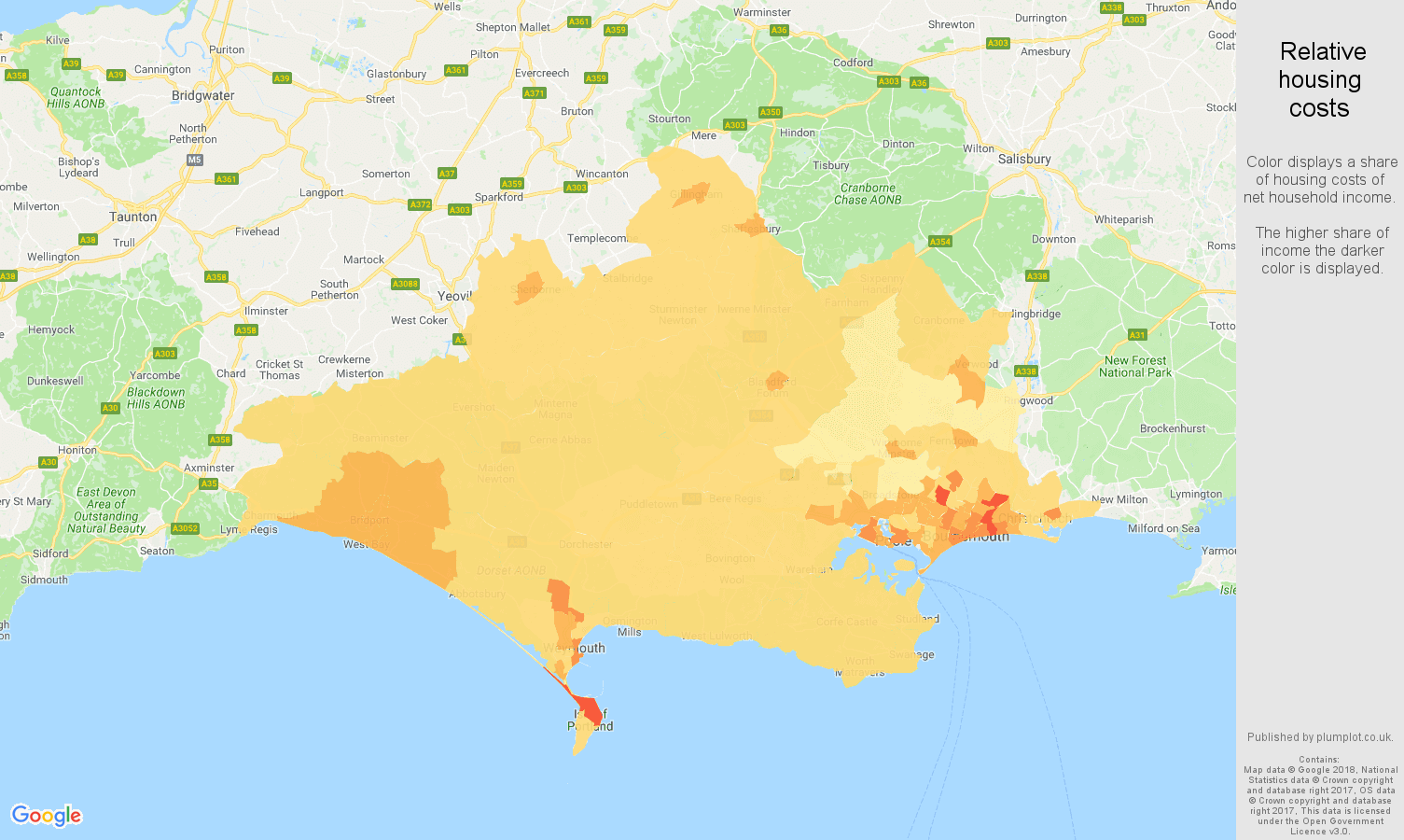 Dorset relative housing costs map