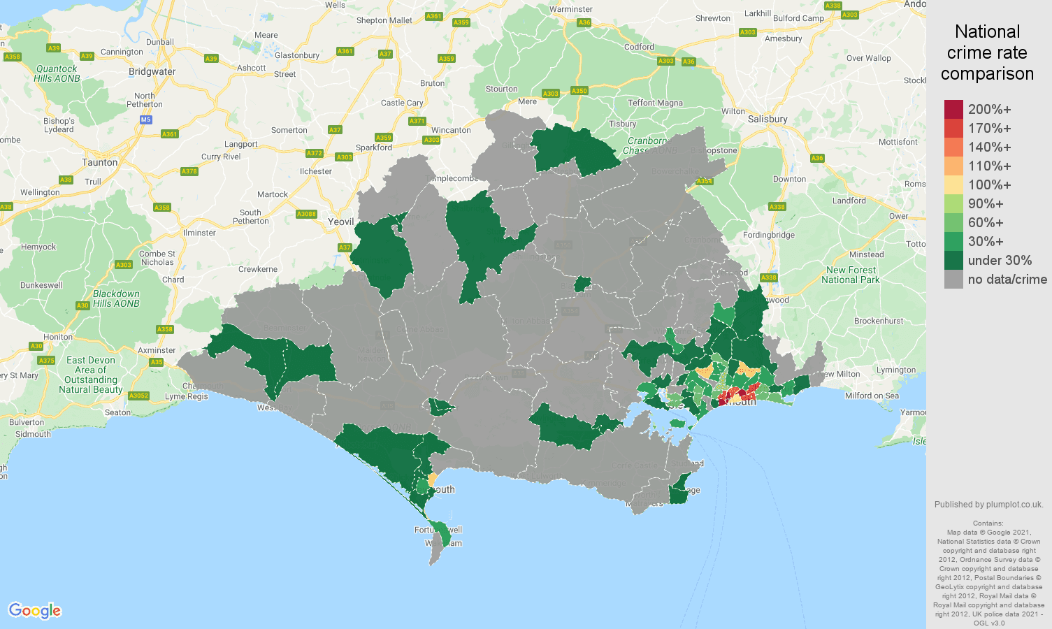 Dorset robbery crime rate comparison map