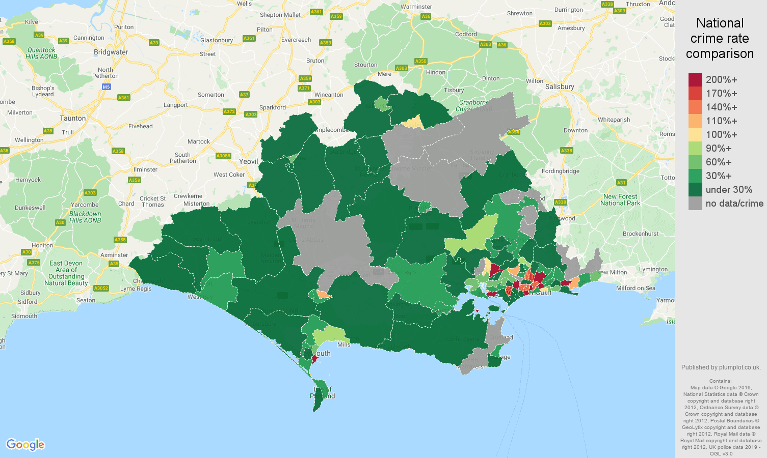 Dorset shoplifting crime rate comparison map