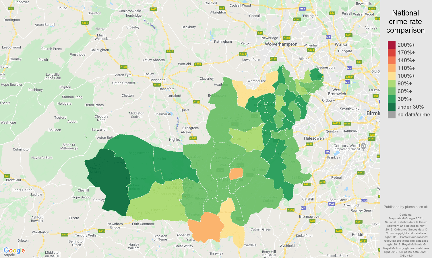 Dudley antisocial behaviour crime rate comparison map