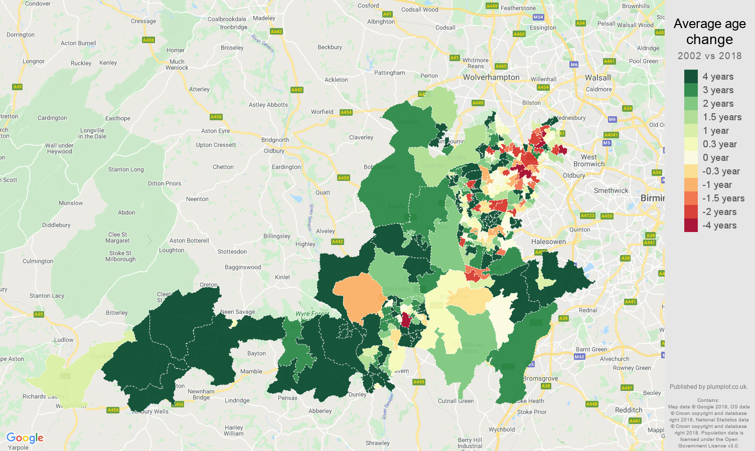 Dudley average age change map