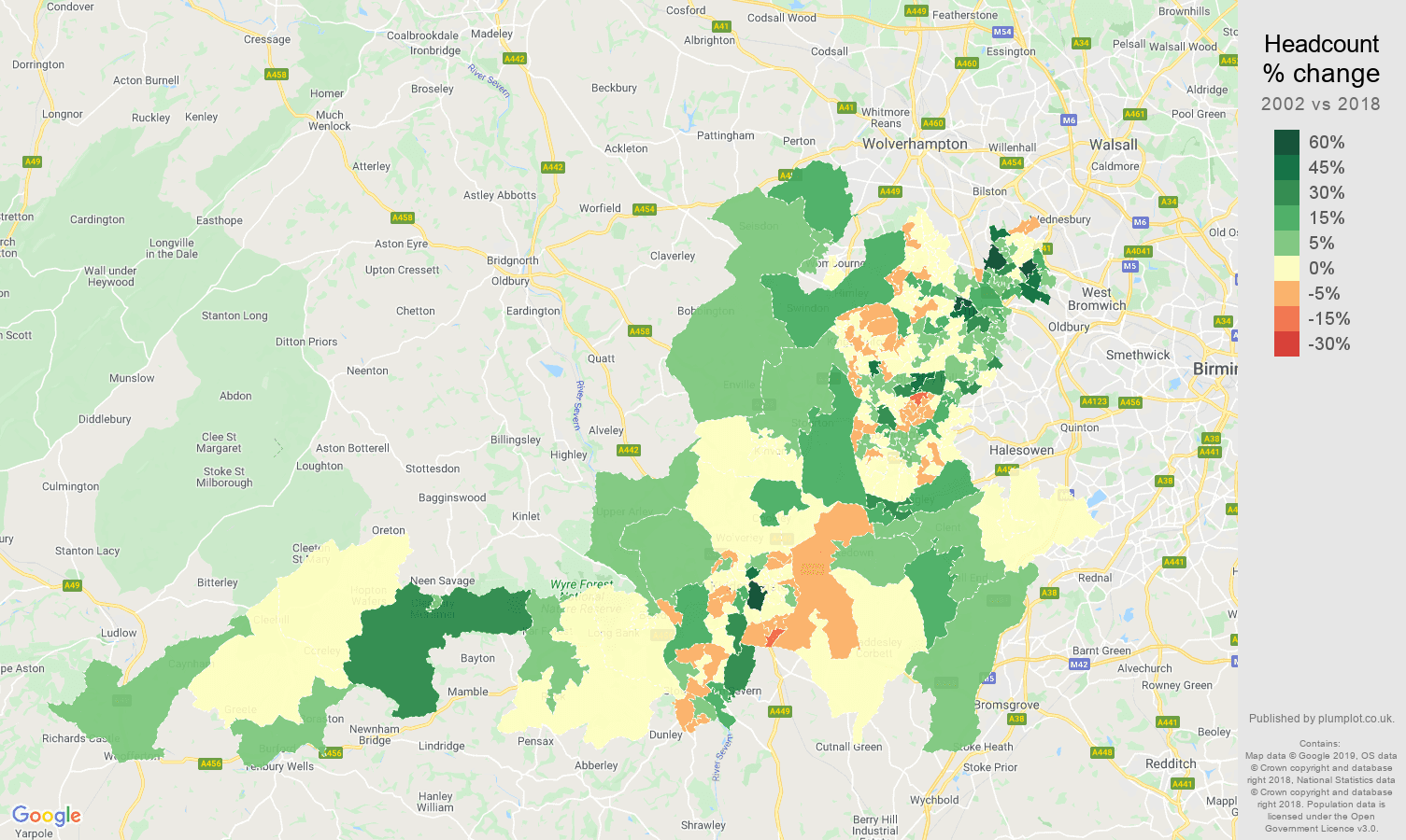 Dudley headcount change map