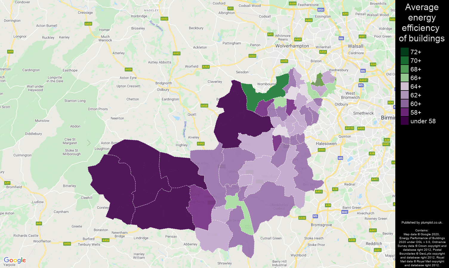 Dudley map of energy efficiency of properties