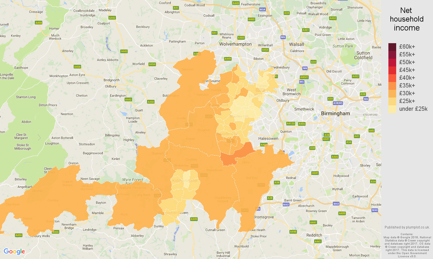 Dudley net household income map