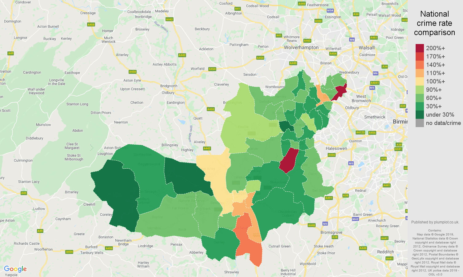 Dudley other theft crime rate comparison map