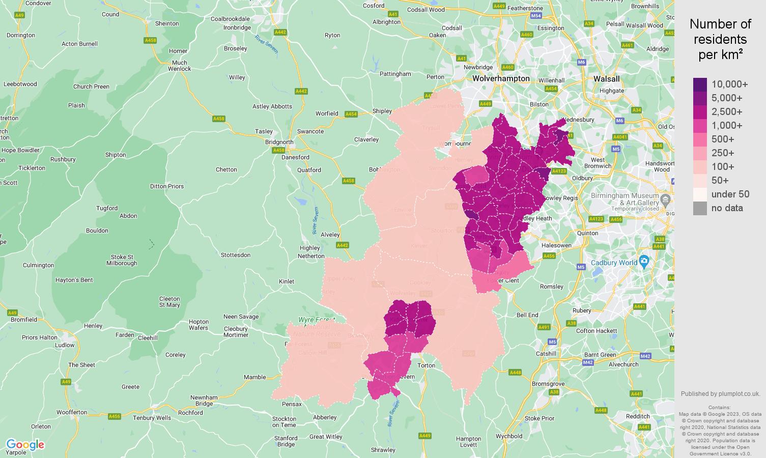 Dudley population density map