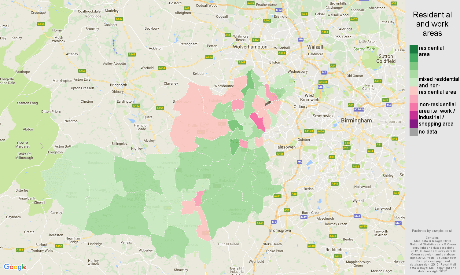 Dudley residential areas map