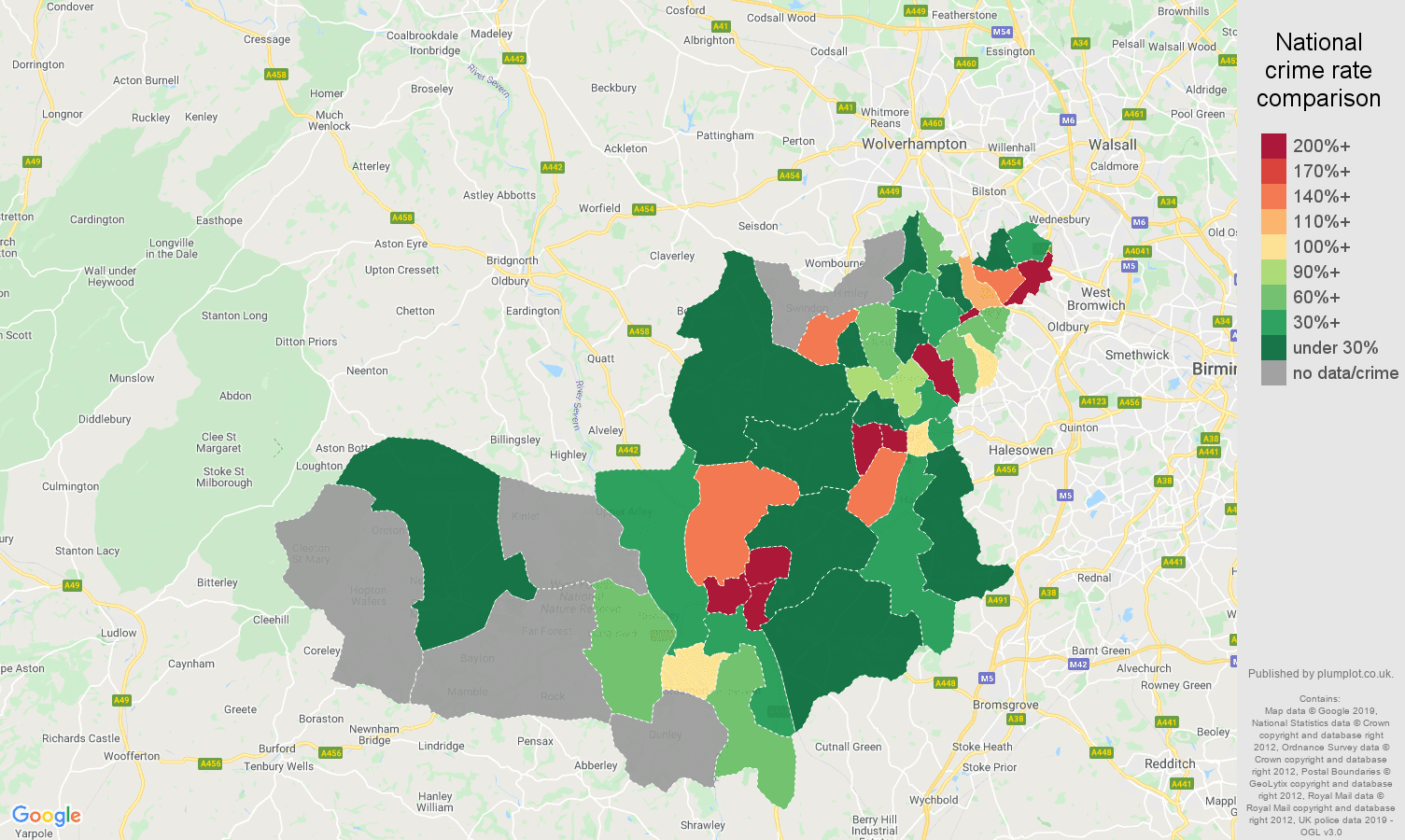 Dudley shoplifting crime rate comparison map