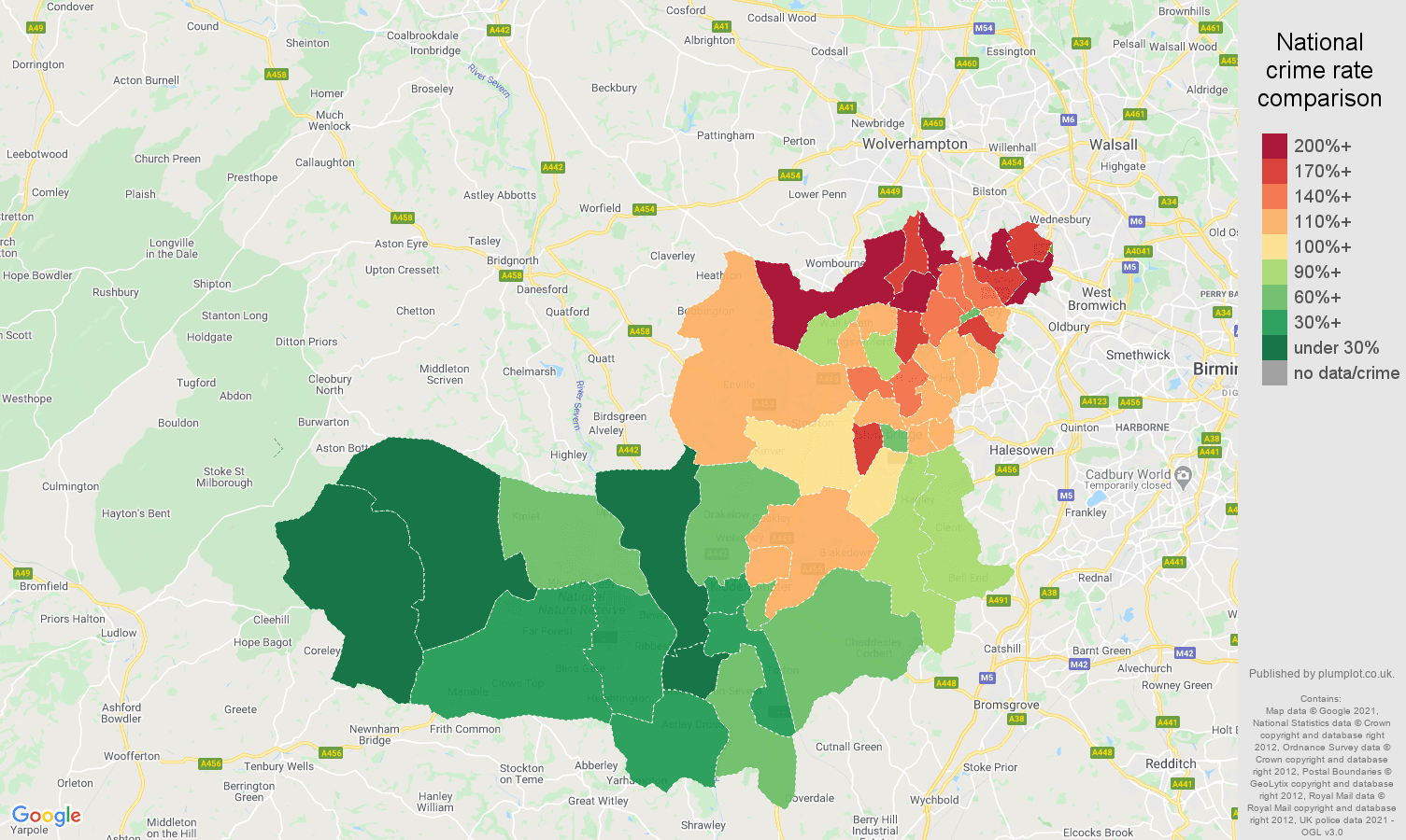 Dudley vehicle crime rate comparison map