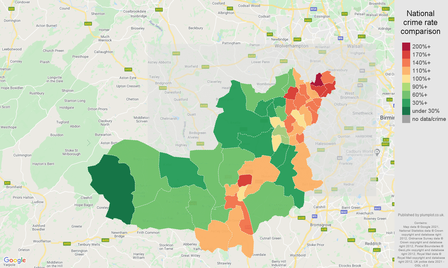 Dudley violent crime rate comparison map