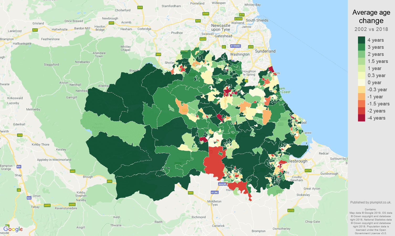 Durham county average age change map