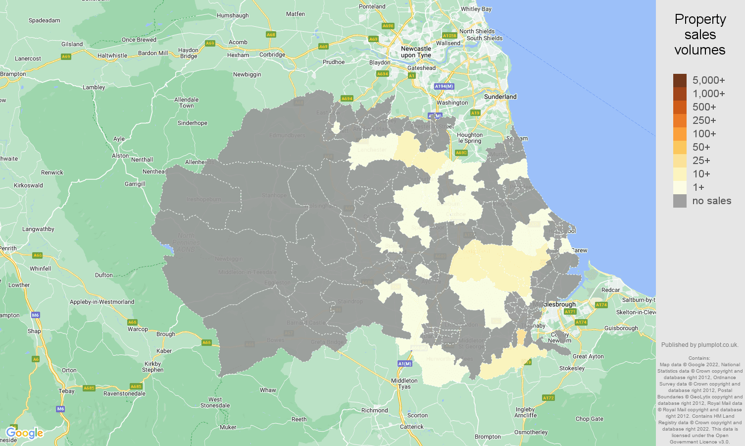 Durham county map of sales of new properties