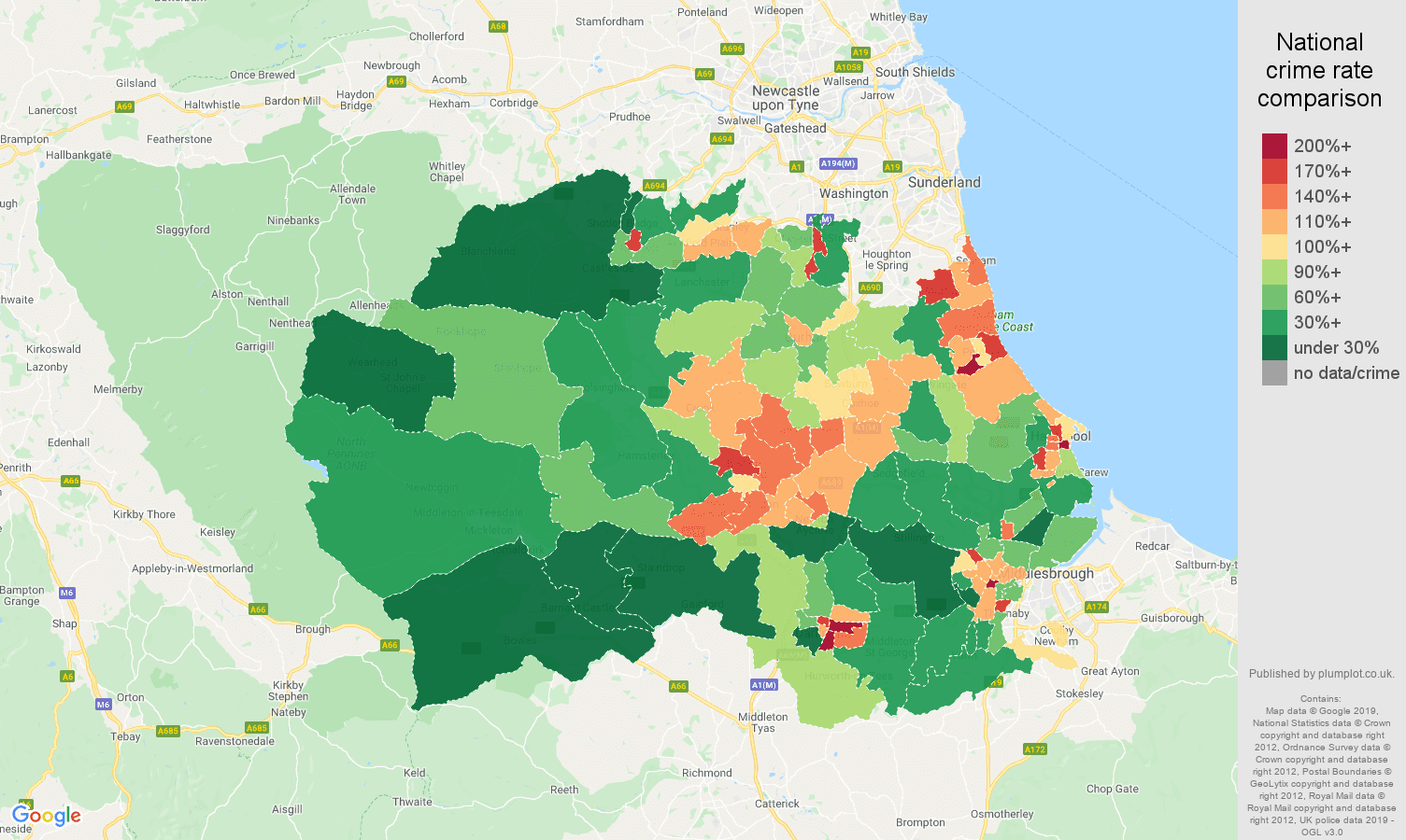 Durham county public order crime rate comparison map