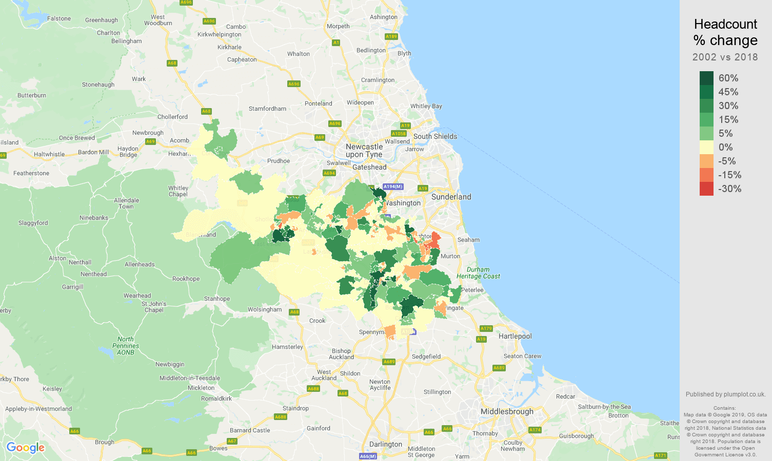 Durham headcount change map