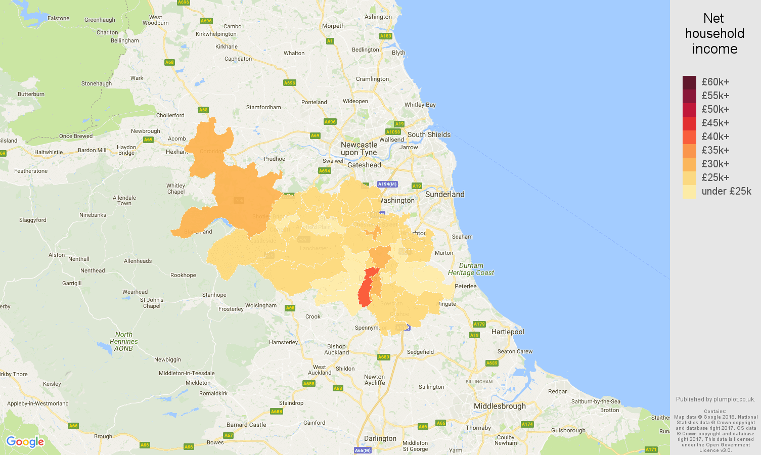 Durham net household income map