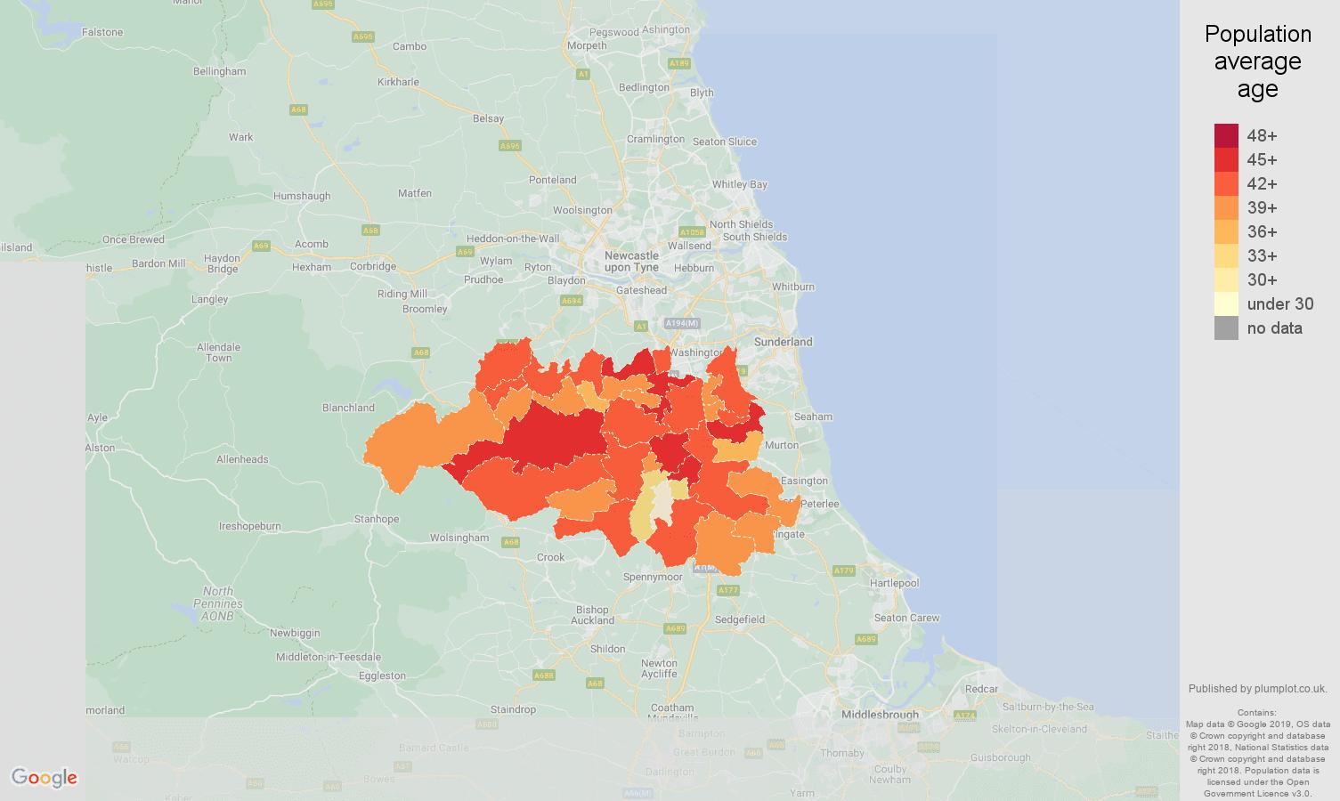 Durham population average age map