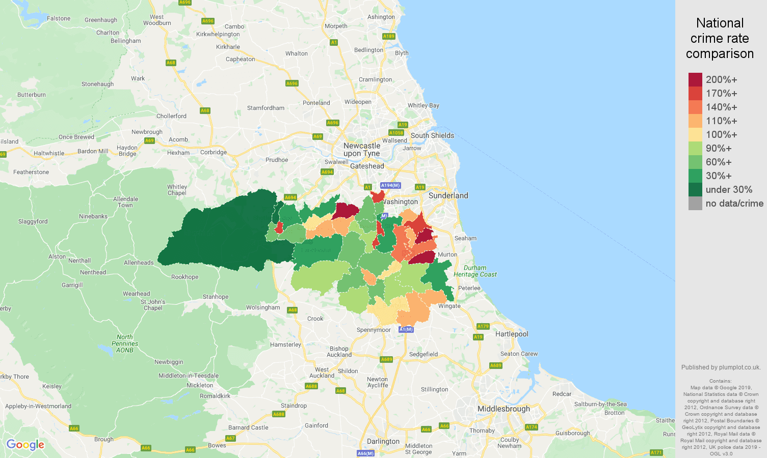 Durham public order crime rate comparison map