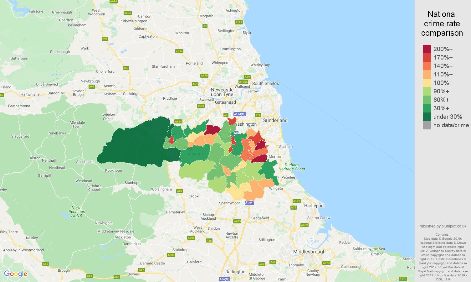 Durham public order crime rate comparison map
