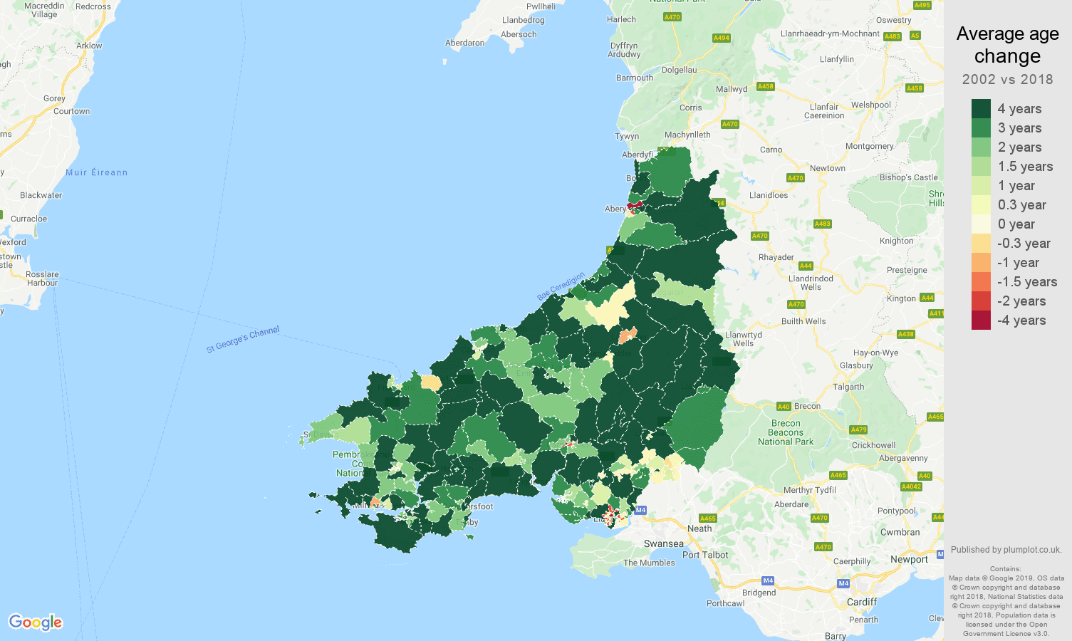 Dyfed average age change map