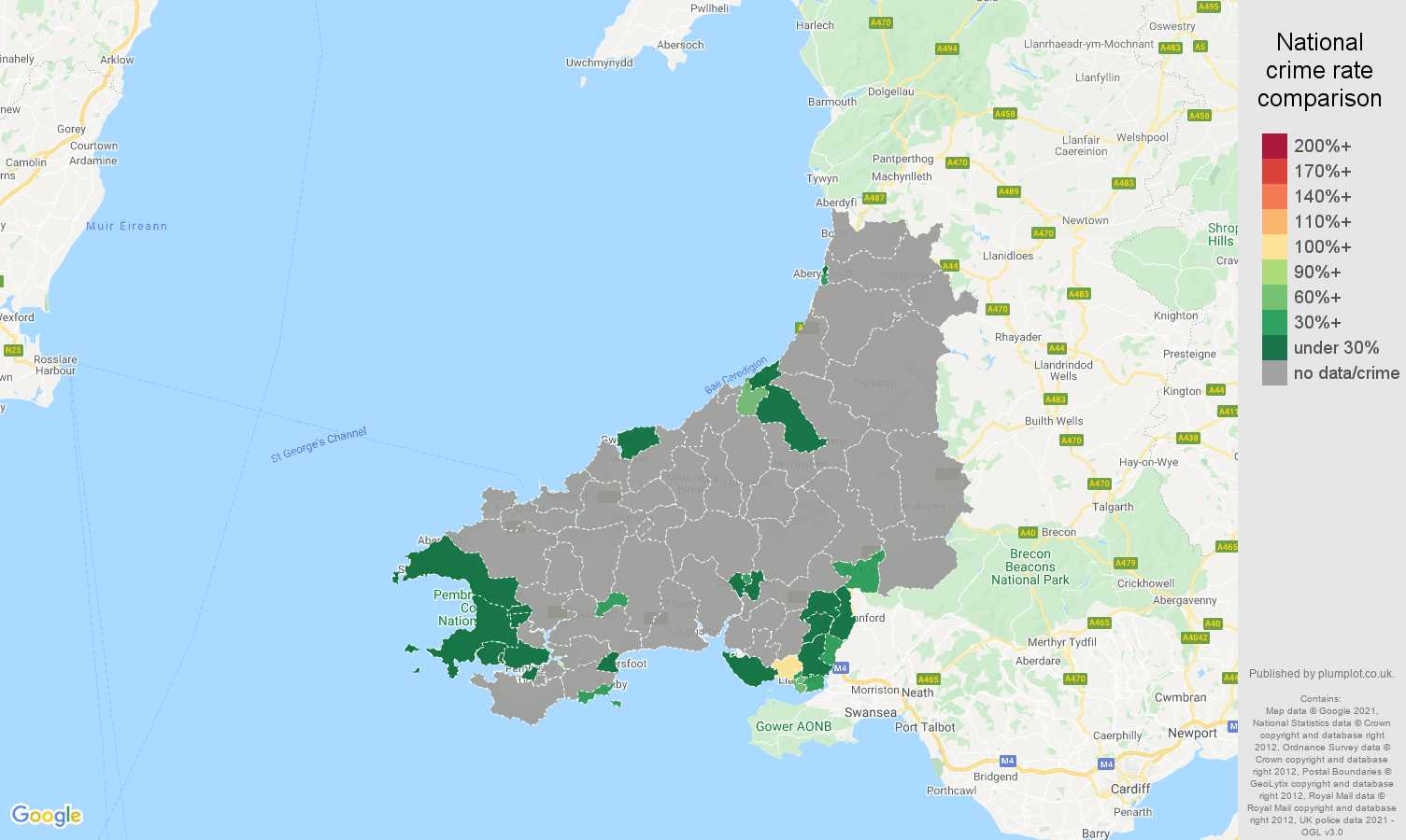 Dyfed bicycle theft crime rate comparison map