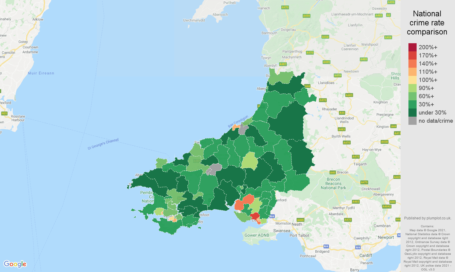 Dyfed burglary crime rate comparison map