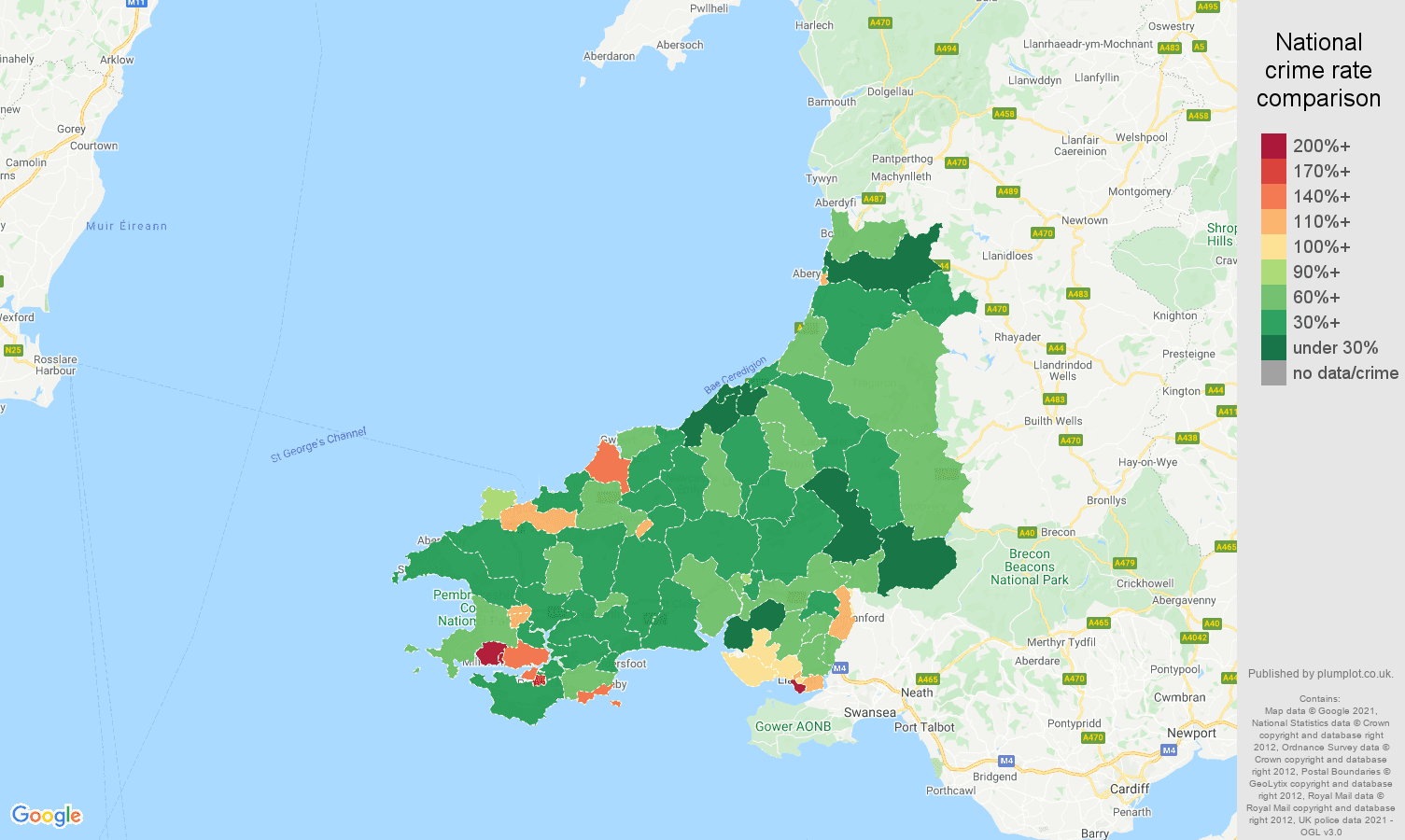 Dyfed criminal damage and arson crime rate comparison map