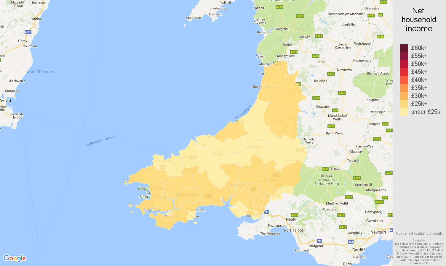 Dyfed net household income map