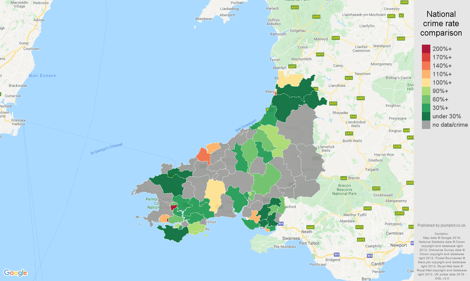 Dyfed possession of weapons crime rate comparison map
