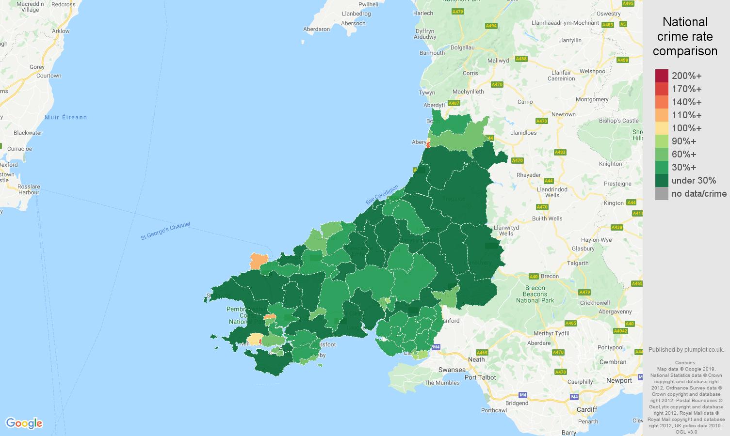 Dyfed public order crime rate comparison map
