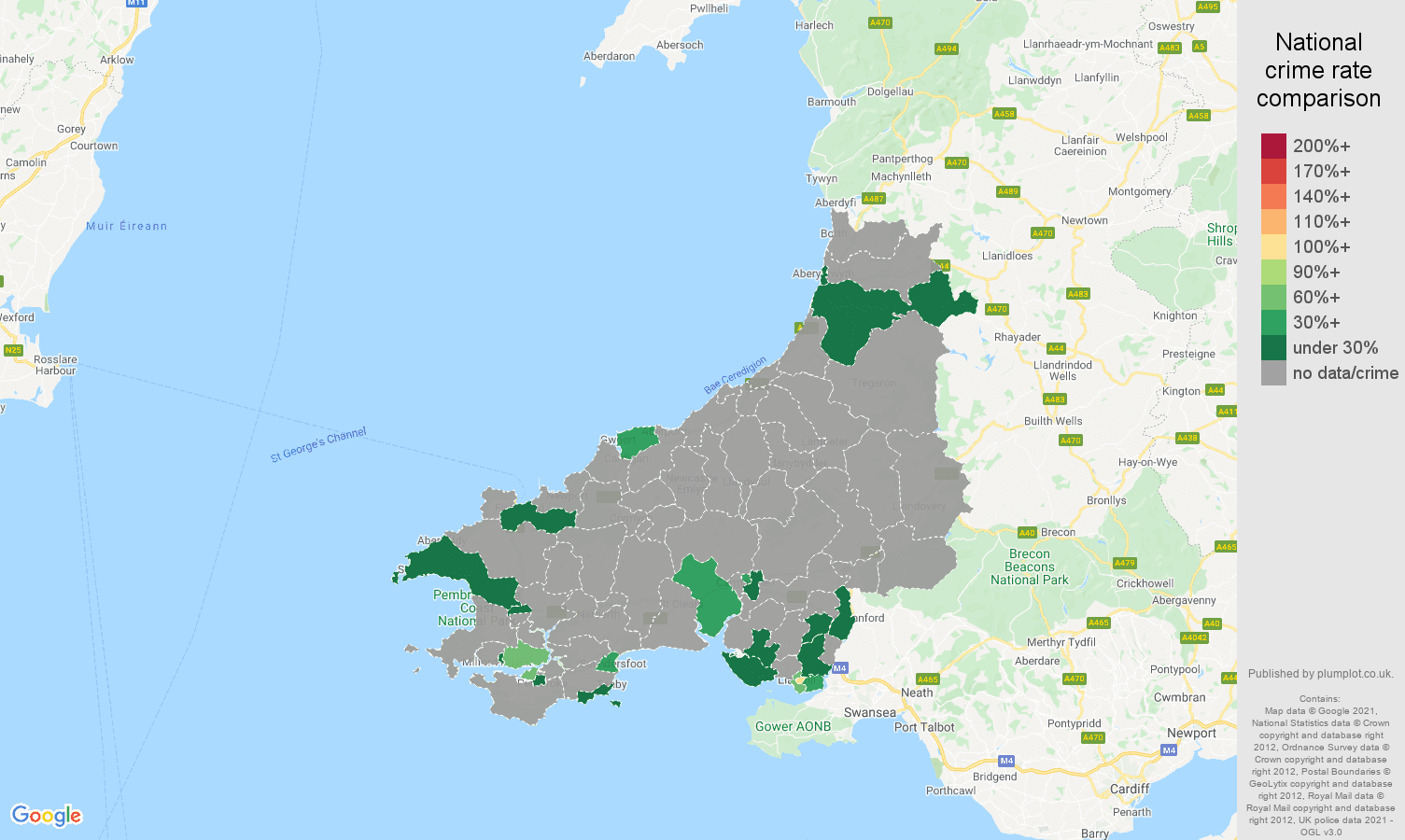 Dyfed theft from the person crime rate comparison map