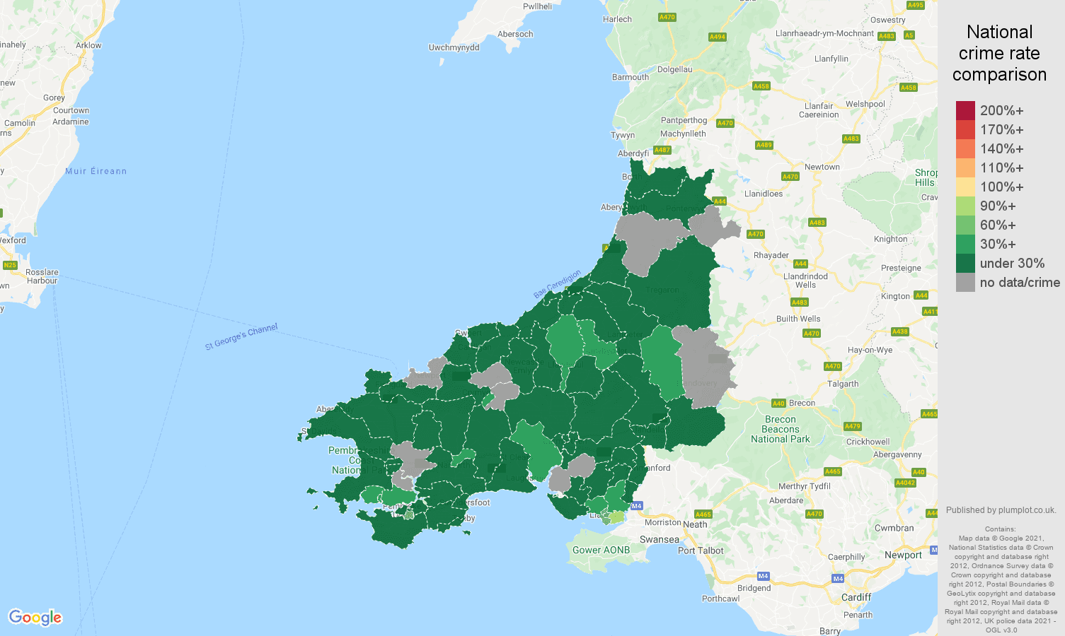 Dyfed vehicle crime rate comparison map