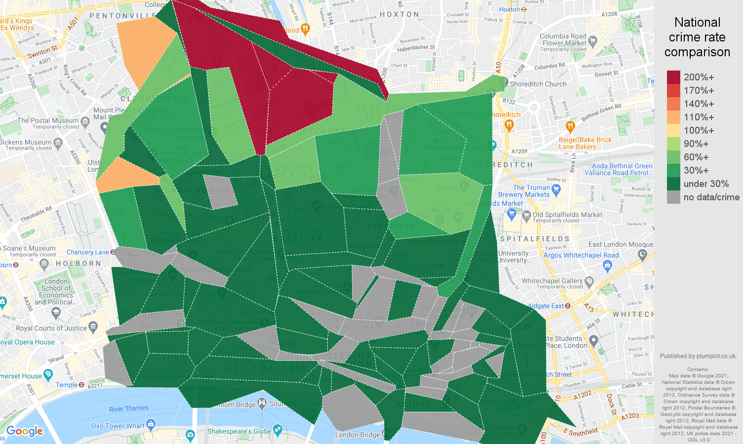 East Central London antisocial behaviour crime rate comparison map
