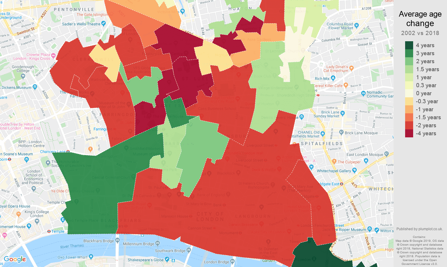 East Central London average age change map