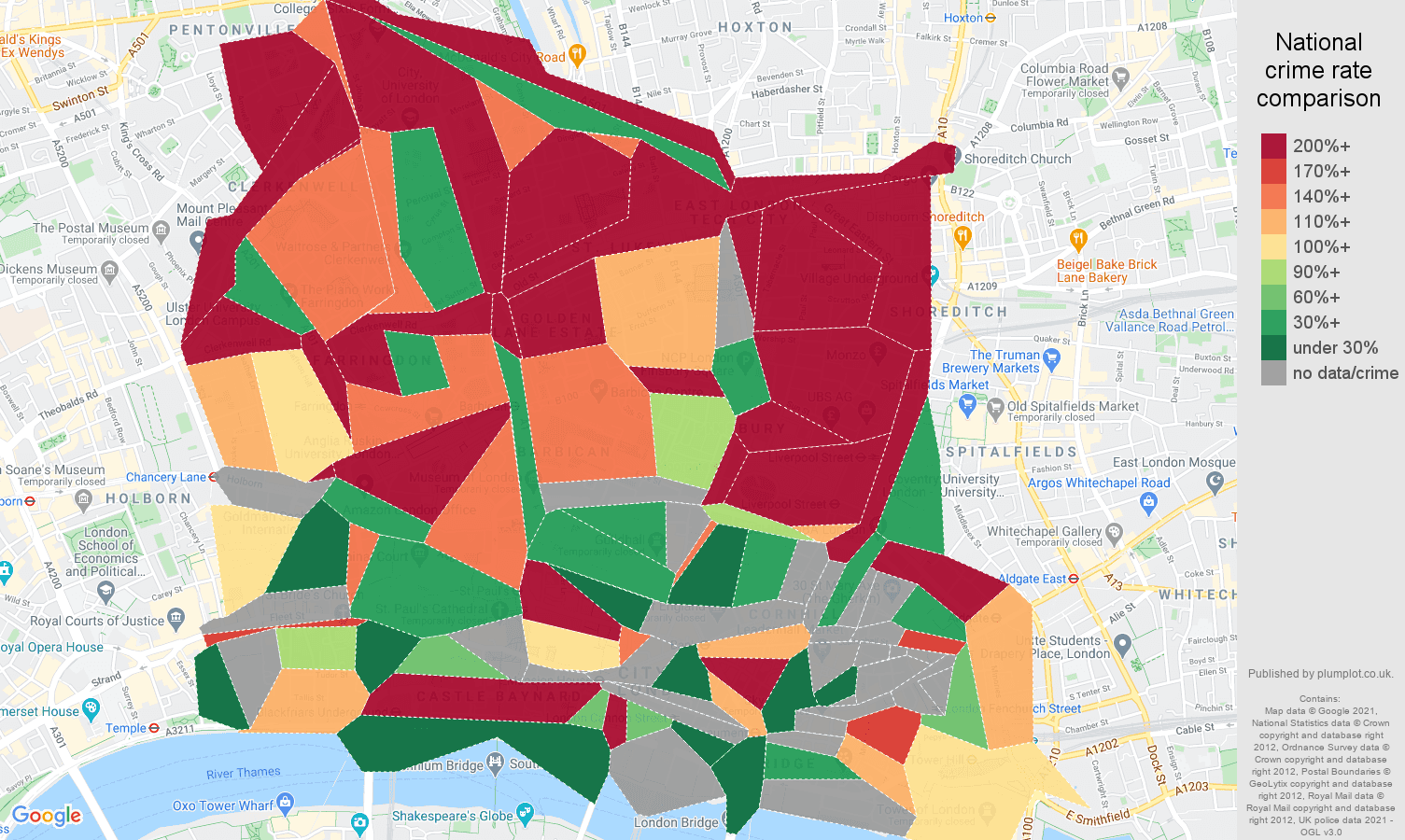 East Central London bicycle theft crime rate comparison map
