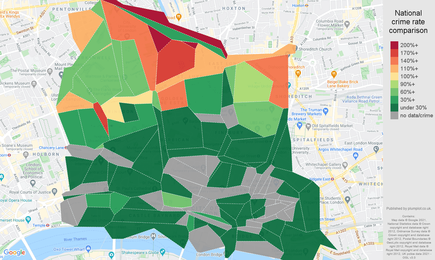 East Central London burglary crime rate comparison map