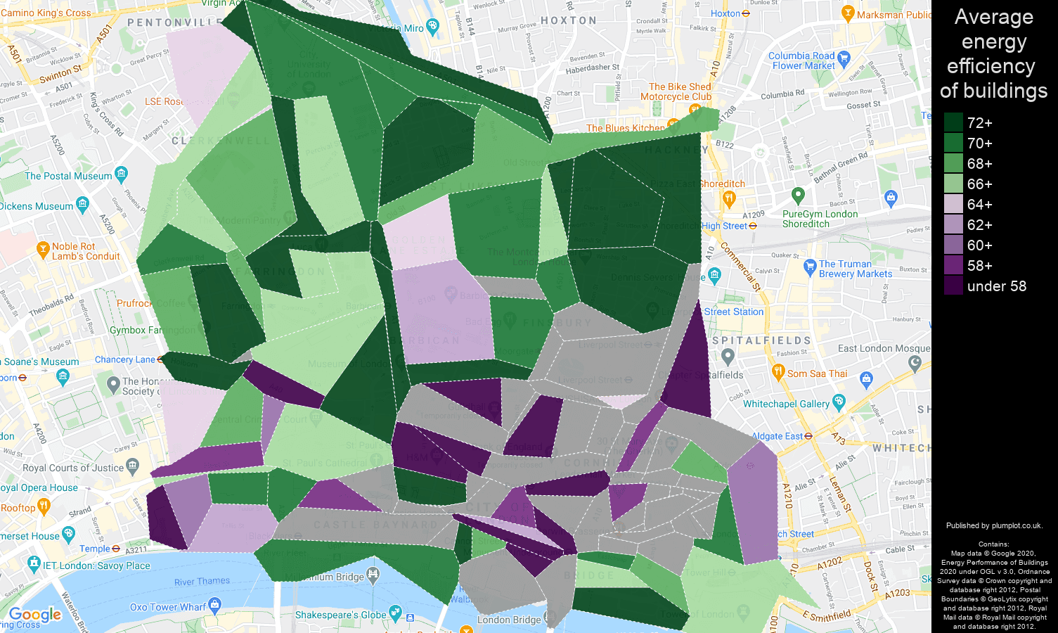 East Central London map of energy efficiency of flats