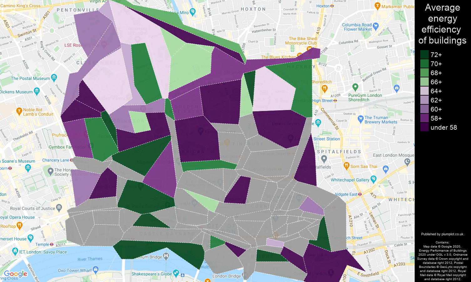 East Central London map of energy efficiency of houses