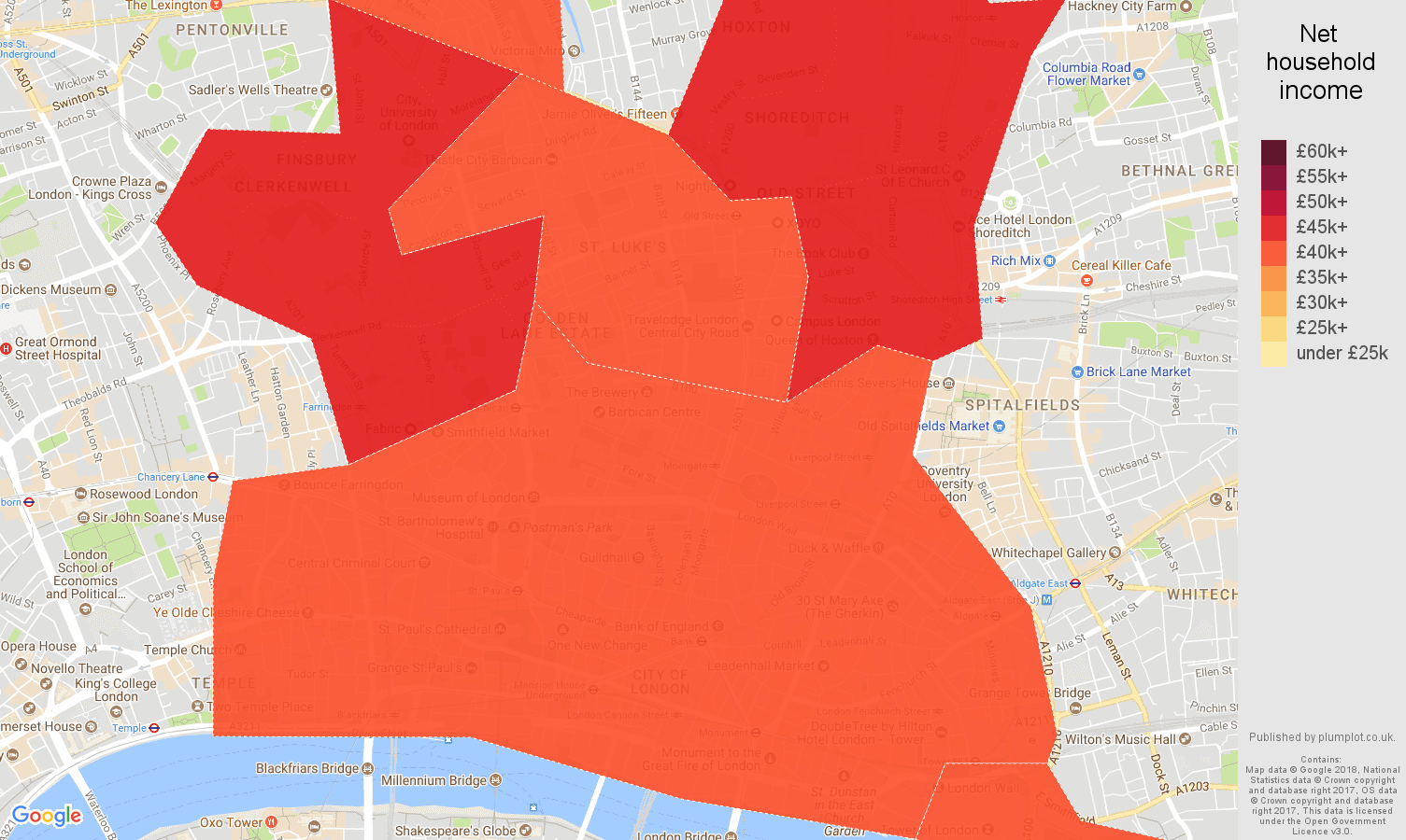 East Central London net household income map