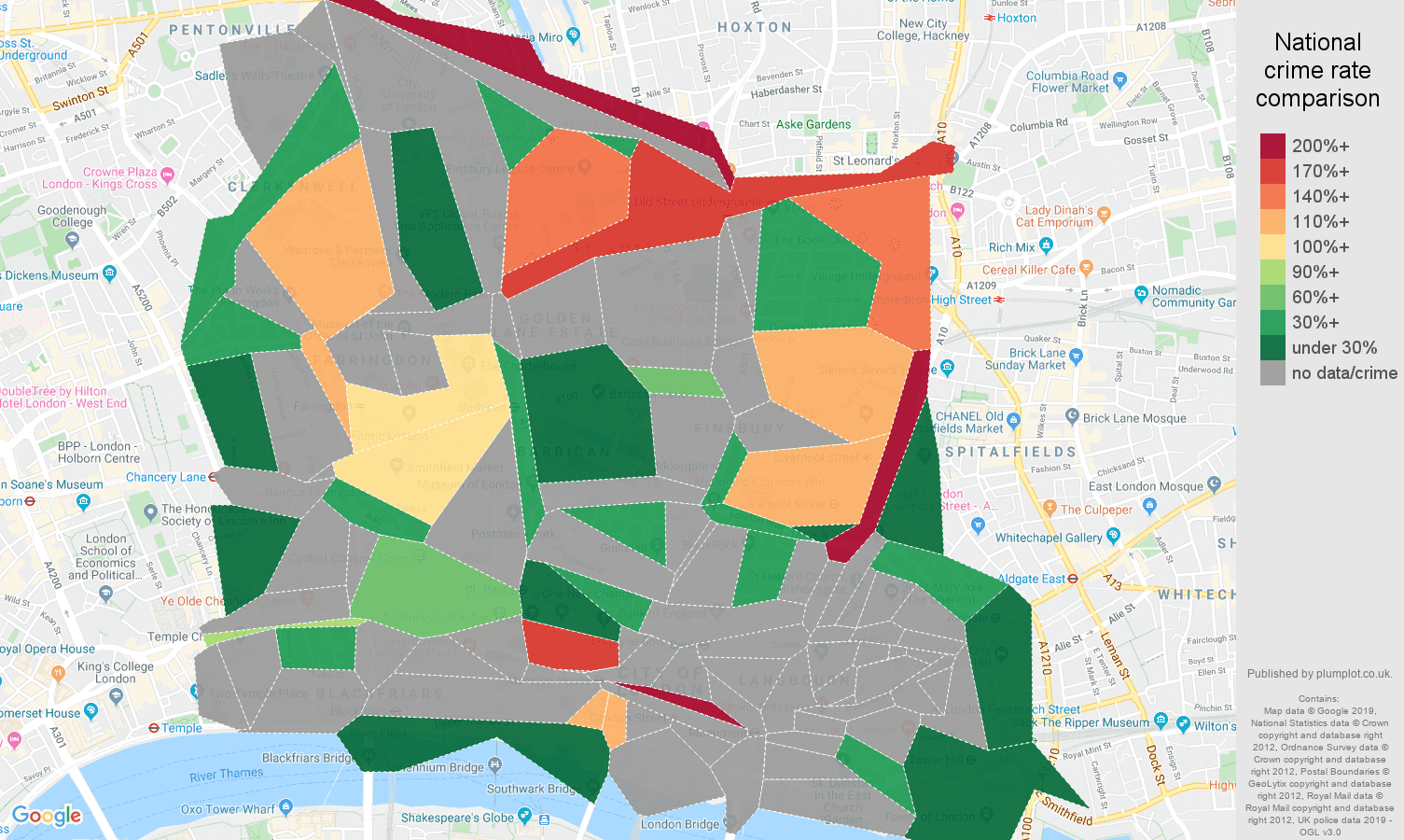East Central London possession of weapons crime rate comparison map