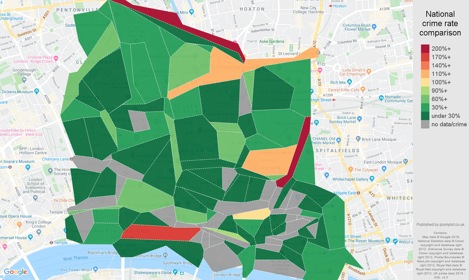 East Central London public order crime rate comparison map