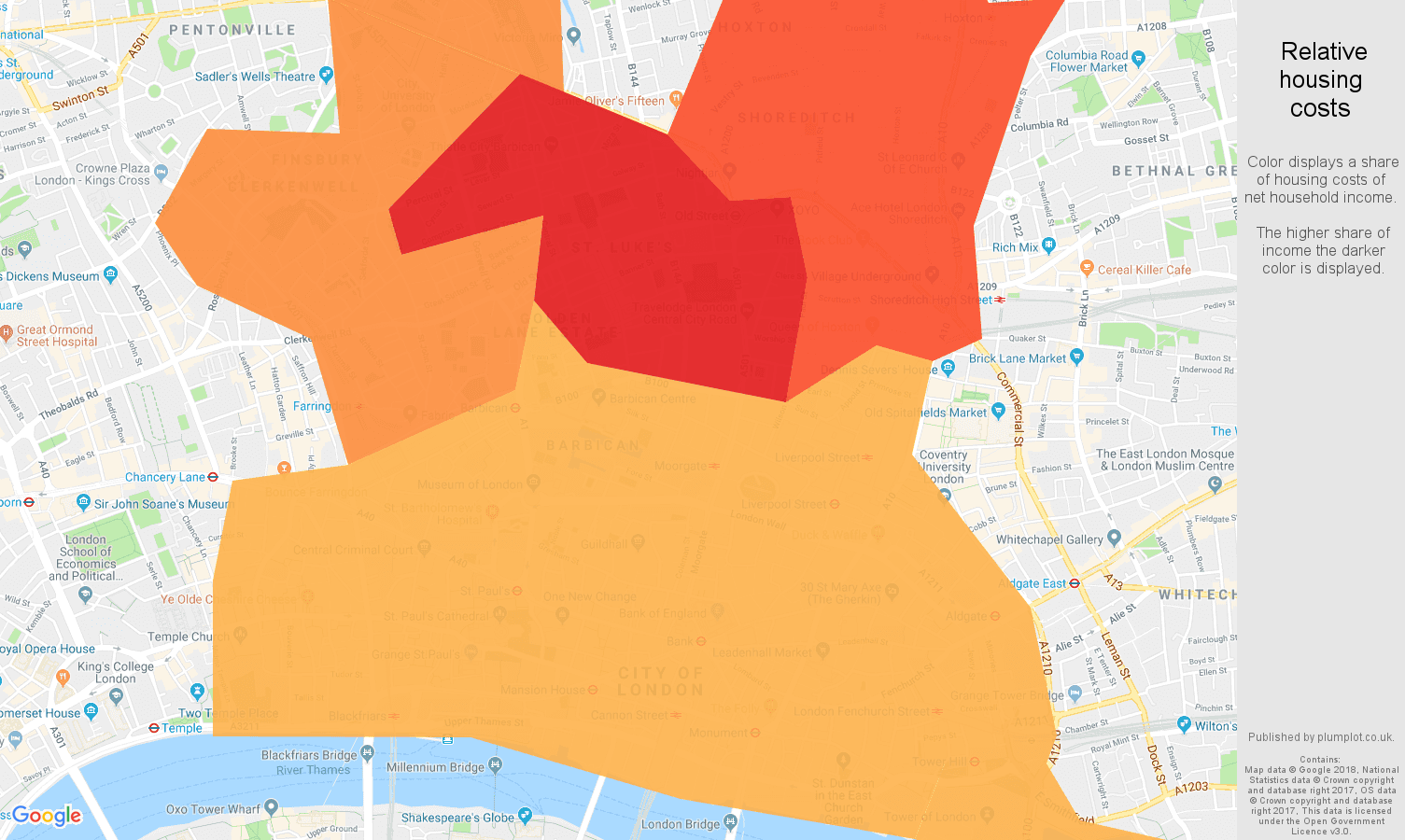 East Central London relative housing costs map