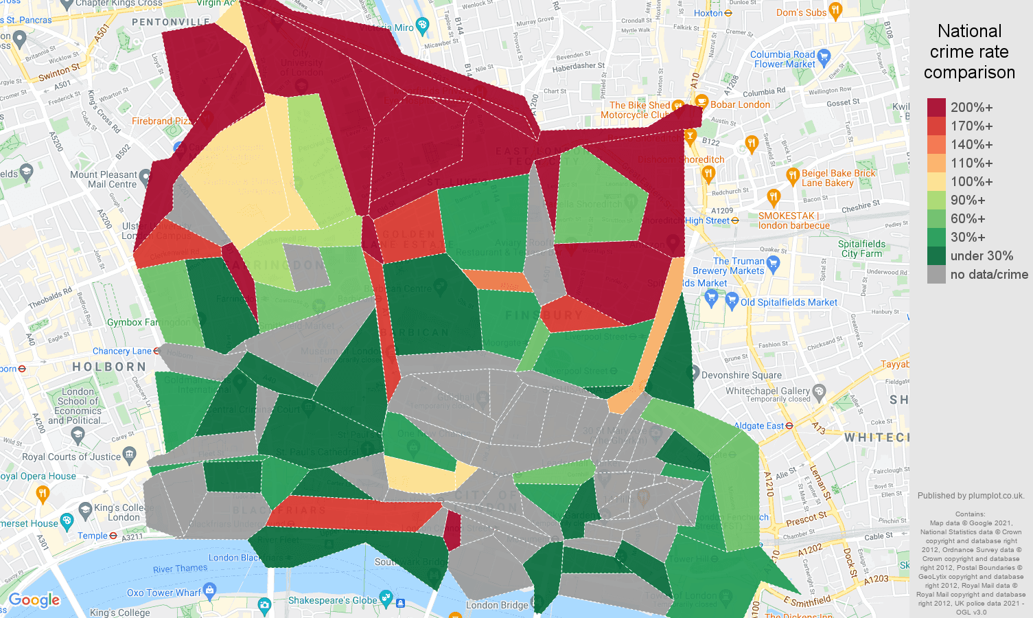 East Central London robbery crime rate comparison map