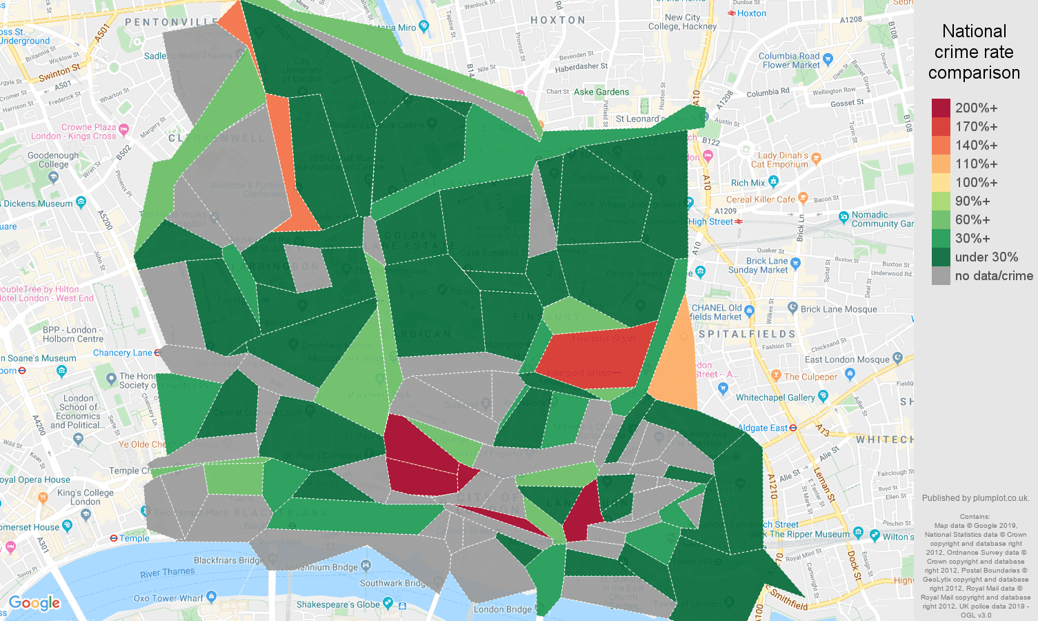 East Central London shoplifting crime rate comparison map
